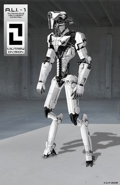A.L.I - 1 Autonomous Lightweight Infantry , Kanish Cyriacus Palathingal on ArtStation at https://www.artstation.com/artwork/a-l-i-1-autonomous-lightweight-infantry