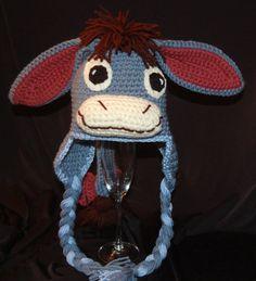 Crochet Eeyore inspired Hat Thanks for noticin' me by DennysHomeWorks. Bible School Snacks, Eeyore, Baby Hats, Crochet Baby, Captain Hat, Beanie, Thankful, Knitting, Pattern