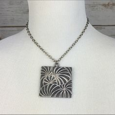 """[Vintage] Coro Art Deco Statement Necklace Choker Unique sign Coro piece. Oxidized silver square pendant. Has a cool swirly design. Chain has hook closure.   Length: 14"""" + 5"""" extender  Condition: GUC. Vintage piece. No major flaws.  No Trades! Vintage Jewelry Necklaces"""