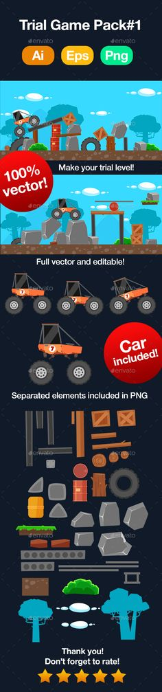 Buy Trial Car Game Pack by Puslatronik on GraphicRiver. - More png sprites (PNG) Make your Trial Game! Jeopardy Game Template, Powerpoint Game Templates, Board Game Template, Tire Vector, Free Game Assets, Kit Games, Game Background, Animation, Abstract Photography
