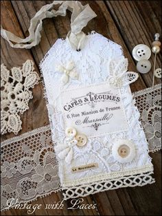 White Fabric Tag with French Ad