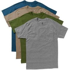 Hanes Men's Dyed Crew Pocket T-Shirts, 4 Pack