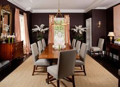 Dining rooms are a place to get dramatic. They're often used for entertaining and they're a room where we might take risks we would't dare elsewhere. That's where eggplant comes in, a dark, rich,color that would make a bold statement in the dining room:
