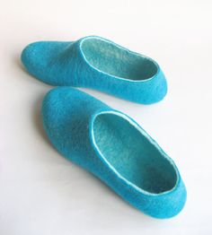 Shoply.com -Felted slippers Mens size Teal Mint Turquoise Aqua. In case of Cold Feet. Custom made. Only $99.00