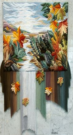 Three-dimensional non-woven tapestry by Armenian artist Yuri Hovsepian - Beauty will save Weaving Wall Hanging, Weaving Art, Tapestry Weaving, Loom Weaving, Thread Painting, Fabric Painting, Fabric Art, Art Fibres Textiles, Textile Fiber Art