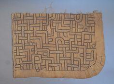 Africa | Kuba people, DR of Congo | Single panel from an appliqué raffia textile