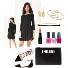 How to Wear a Black Circular Dress by angela-for-ondit on Polyvore featuring BCBGMAXAZRIA, Givenchy, Madewell, Lulu*s, Smashbox, OPI, women's clothing, women's fashion, women and female