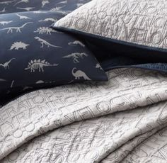 RH Baby & Child's Dinosaur Print & Vintage-Washed Percale Bedding Collection:Prehistoric dinosaurs are rendered on a soft and supple blend of cotton and linen. Its textural hand lends a relaxed look – and feels right at home in any young archeologist's room.