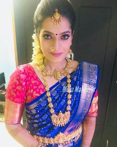 Bridal saree blouse jewellery 54 Ideas for 2019 South Indian Wedding Saree, Indian Bridal Sarees, Wedding Silk Saree, Indian Bridal Fashion, Indian Wedding Jewelry, South Indian Bride, Bridal Jewellery, Gold Jewellery, Indian Jewelry
