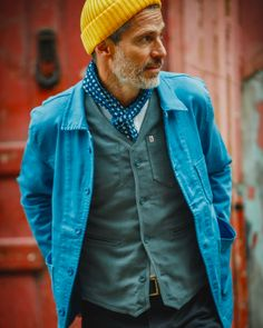 &Sons Blue Bolt Jacket - The BLUE BOLT is our newest addition to the &Sons collection, inspired by the frech worker jackets - Vintage Style Outfits, Vintage Fashion, Mens Fashion, Fashion Outfits, Old Man Fashion, Bar Outfits, Vegas Outfits, Woman Outfits, Club Outfits