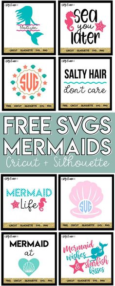 OMG! Cannot believe these SVGs are totally free to use with your Cricut or Silhouette. Make DIY mermaid birthday party decor or a cute shirt for your mermaid obsessed daughter. Don't miss out on the huge library of free svg cut files either! #cricut #silhouette #svg