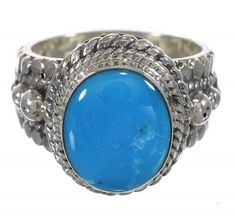 Southwest Genuine Sterling Silver Turquoise Ring Size 6-1/4