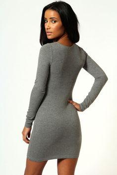Camille Long Sleeve Jersey Bodycon Dress at boohoo.com