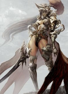 knight by tahra female fighter paladin armor clothes clothing fashion player character npc | Create your own roleplaying game material w/ RPG Bard: www.rpgbard.com | Writing inspiration for Dungeons and Dragons DND D&D Pathfinder PFRPG Warhammer 40k Star Wars Shadowrun Call of Cthulhu Lord of the Rings LoTR + d20 fantasy science fiction scifi horror design | Not Trusty Sword art: click artwork for source