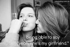 She's my girlfriend. Będąc w stanie powiedzieć: tak, to moja dziewczyna. Lesbian Love Quotes, Cute Lesbian Couples, Lesbian Pride, Pride Quotes, Lgbt Quotes, I Love My Girlfriend, Girlfriend Goals, My Girlfriend Quotes, Future Girlfriend