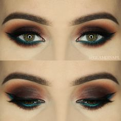 Makeup Geek Brow Brush Duo + Makeup Geek Eyeshadow in Shark Bait + Makeup Geek Gel Liner in Immortal. Look by: GlamDiva.pl