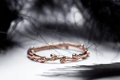 wedding band in 14k rose gold slim stacking ring twig by redsofa