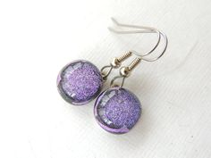 Lavender Purple Dichroic Fused Glass Earrings by AllAboutClass, $16.00