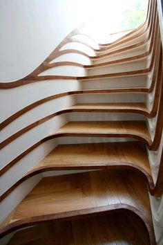 """""""The stair is a continuation and intensification of the simple graphic skirting board lines that trace their way through the house. As they turn the corner into the stair void, they expand li…"""