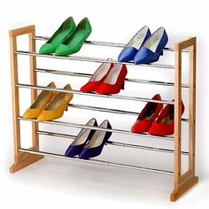 "Expandable shoe rack lets you customize shoe storage to fit your space! Expands from 24 to 39""W to hold up to 24 pairs of women's shoes, stacking feature lets you add vertically."