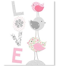 Pink and Gray Bird Nursery Art Girl Nursery Decor Love Print Art for Girls Room Love Birds Cute Bird Art Modern Art 8 x 10 or 11 x 14 Print