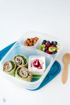 spinach, ham, and roasted red pepper hummus wraps  are a perfect alternative to sandwiches - healthy school lunch idea