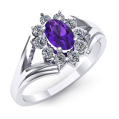 Inel de logodna cu ametist oval si diamante