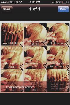 Steps On How To Do A Waterfall Braid :)
