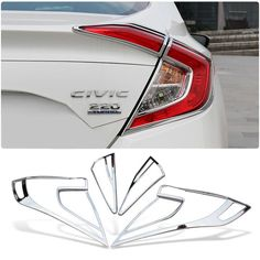 61.28$ Watch here - http://ali6y0.worldwells.pw/go.php?t=32727289660 - 4pcs/set Car Styling ABS Chrome Rear Tail Light Lamp Frame Cover Trim Decoration Accessories For Honda Civic Sedan 10th 2016 61.28$