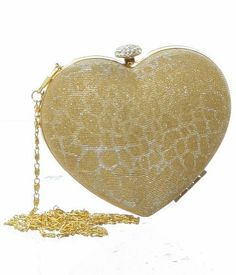 b801ca531a Gold Shimmering Heart Case Minaudiere Evening Clutch Designer L amp S