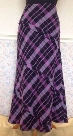 12 Pink Purple Tartan Plaid Long Maxi Skirt Wool Mix Autumn Winter Steampunk Vtg £18.21