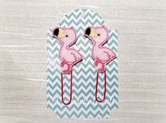 2 Flamingo Paper Clip Planner Accessory Teacher's by AHeartlyCraft