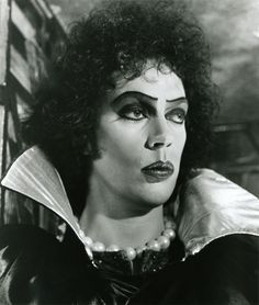 Tim Curry is 'Frank N Furter' in Rocky Horror Picture Show.