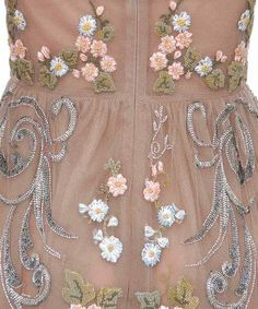 Beige Floral And Pearls Embroidered Dress Valentino fall/winter 2012.                                                 Valentino fall/winter 2012
