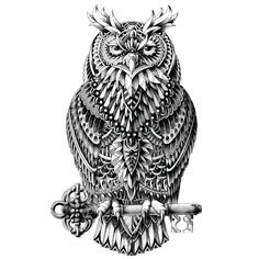 "- Product: ornate owl wall sticker decal - Sizes: S-9""w x 15""h; M-15""w x 25""h; L-21.6""w x 36""h - Shape: cut out - Style: highly-detailed, black and white illustration - Material: fabric sticker, non-t"