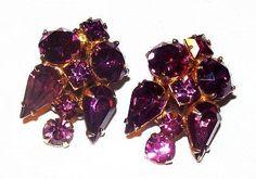 Purple Rhinestone Earrings Clip On's Gold by BrightgemsTreasures