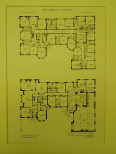 Floor Plans, Washington Court, Cambridge, MA, 1909, Original Plan. Newhall & Blevins.