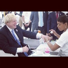 1st pic of one of my @nailporn team Pebbles doing Mayor Boris Johnsons nails at the Olympic Park Village today with my nail design menu in shot . #gassed is not the word  (Taken with Instagram)