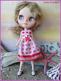 """BLYTHE DOLL Dress - OOAK - """"Love Christmas"""" - Pink with Red + Pink Hearts by CooeeChris on Etsy"""