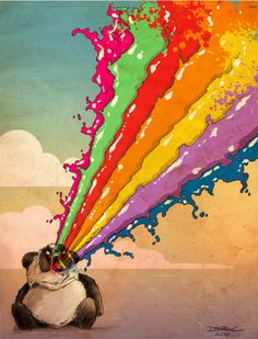 Rainbow vomiting panda by Derek Chatwood #panda #vomit #derekchatwood