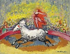 Painting by  Kees van Dongen(1877-1968), Au Cirque Médrano, oil on canvas.