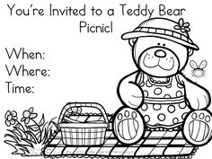 Teddy Bear Picnic Invitations Cute freeand printable Picnic