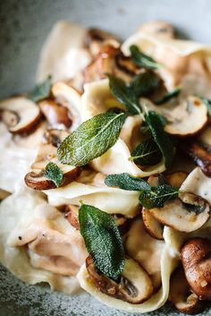 Pumpkin Tortellini with Brown Mushrooms, Shallots, White wine & Cashew Cream