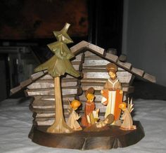 1977 Christmas Black Forest WOODEN NATIVITY CRECHE Germany hand carved & colored  | eBay