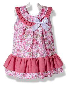 Vestido de piqué flores de abril rosa para niña