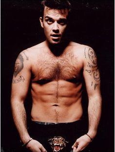 Robbie Williams. British singer in Tiger underwear worn for rock dj video