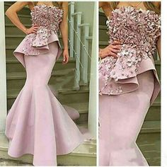 floral pale Pink Mermaid Prom Dress Off the Shoulder Strapless Hand-Made Flowers Long Evening Dresses Robe De Soiree Longue African Evening Dresses, African Lace Dresses, Black Evening Dresses, Mermaid Evening Dresses, African Fashion Dresses, Evening Gowns, Couture Dresses, Look Fashion, Ball Gowns