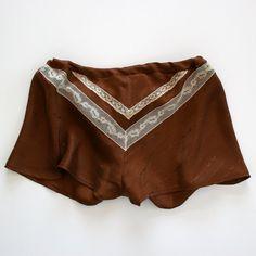 Silk Lingerie Shorts Panties Lace / Brown Ivory Chevron Vintage Jacquard / Small - Alma Garconne Tap Shorts. via Etsy.