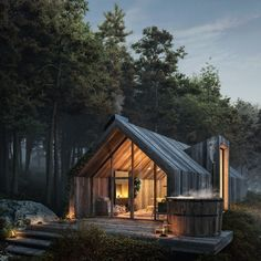 Unique Architecture with the Power of Wood — ✔Concept ✔Architectural Concept ✔Storytelling ✔Photography Modern Barn House, Modern House Design, Modern Wooden House, Modern Cabins, Shed Homes, Prefab Homes, A Frame House, Tiny House Cabin, Forest House
