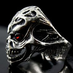 925 Sterling Silver SKULL Ring Cz RED Eyes Stone Harley Heavy Biker Mens Jewelry